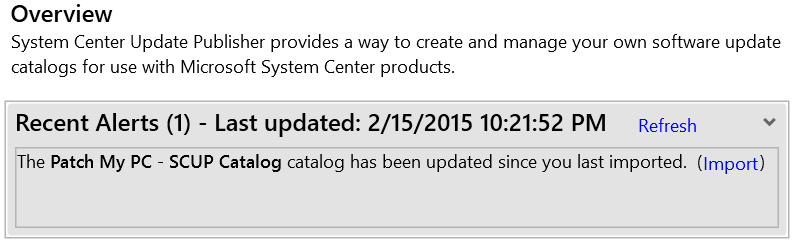 SCUP Catalog Overview Update Notification