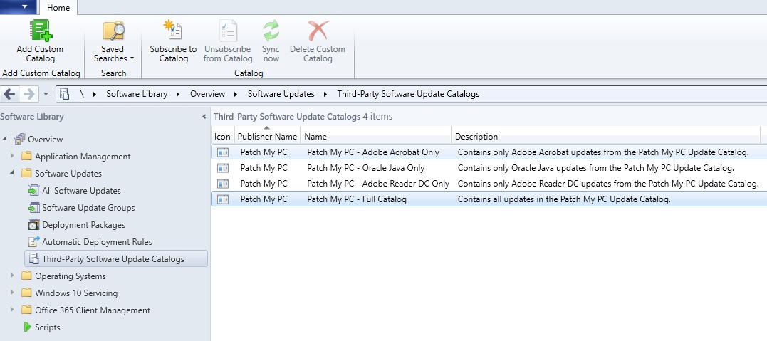Patch My PC Update Catalog in Microsoft SCCM Console