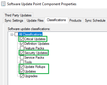 Software Update Classifications Third-Party Software Updates
