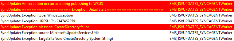 SyncUpdate An exception occurred during publishing to WSUS SyncUpdate Exception Message CreateDirectory failed