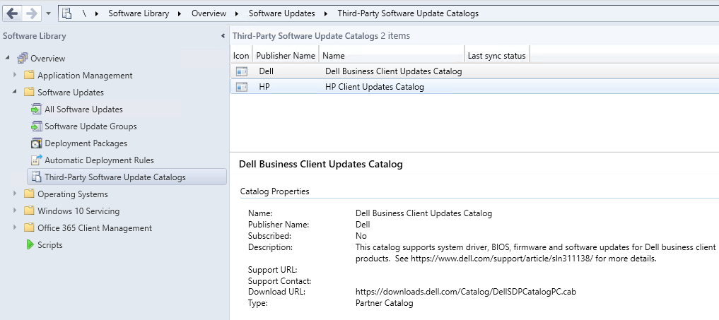Dell HP and Lenovo Third-Party Driver Catalogs for SCCM