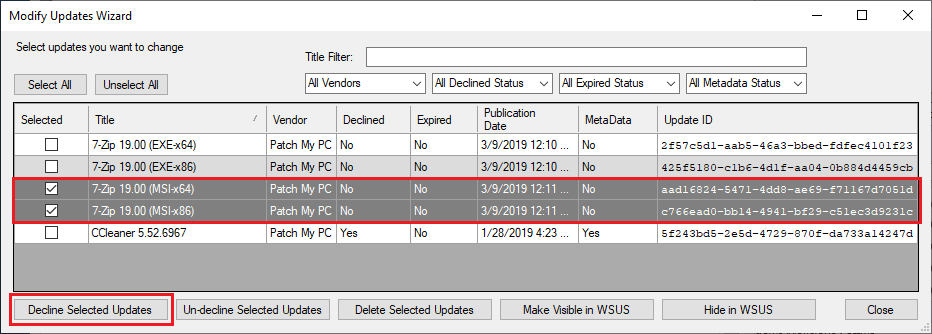 decline published third-party updates from wsus and sccm