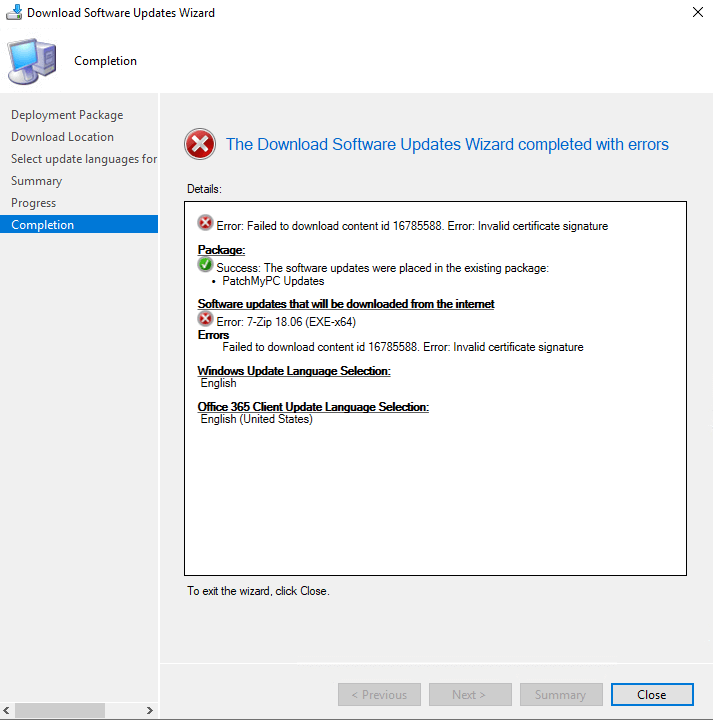SCCM Updates Fail to Download Error: Invalid certificate signature
