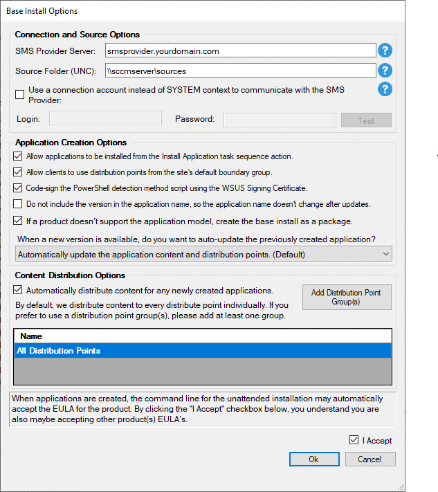 Permissions Required in SCCM for Base Installation Packages from