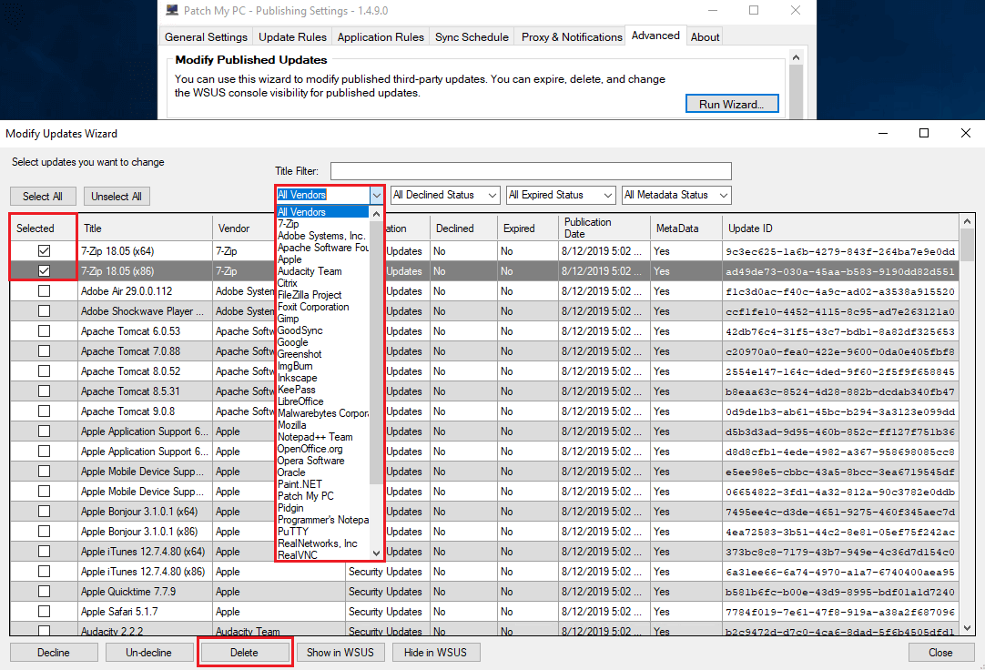 Delete Third Party Categories From WSUS 100 Limit