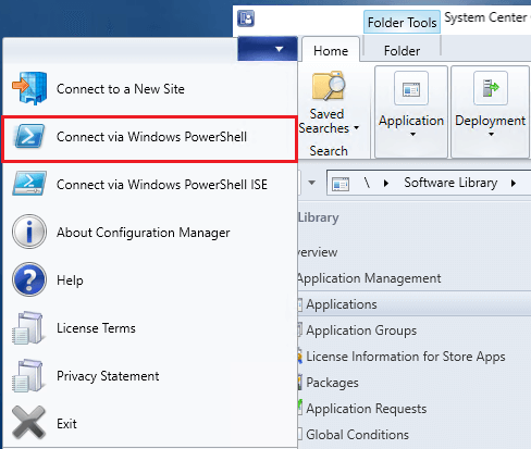 connect via powershell in SCCM console