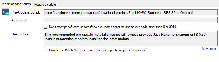 java removal patchmy pc recommended script pre-update script box
