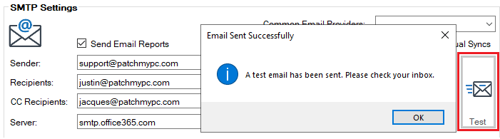 SMTP Sending Works in UI but Not Sync