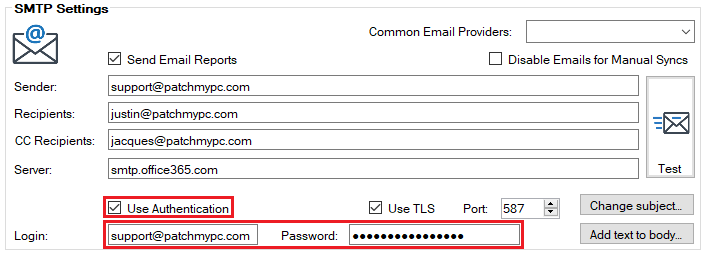SMTP Use Authentication