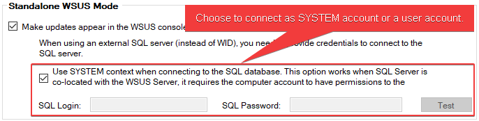 Connect as SYSTEM for WSUS