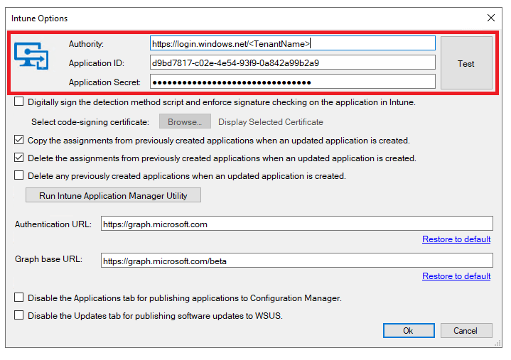 inputting authoridy, application id, and secret into intune options in publisher