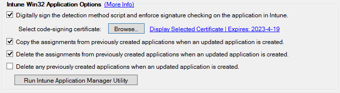 Intune Application Options
