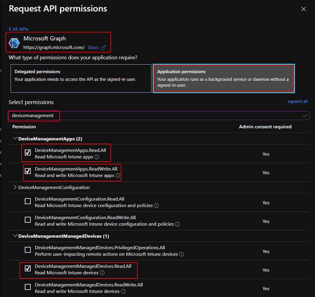 Select Intune App Permissions for Azure App Registration