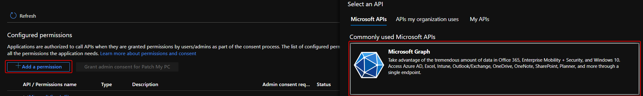 Add Azure App Registration Graph API Permissions