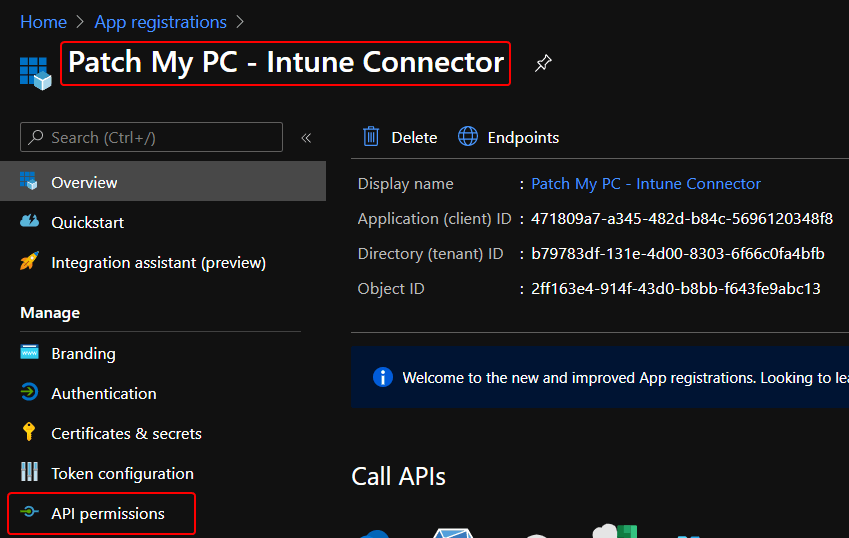 Intune App Registration Created Screen