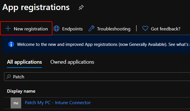 Azure AD Create New App Registration for Microsoft Intune