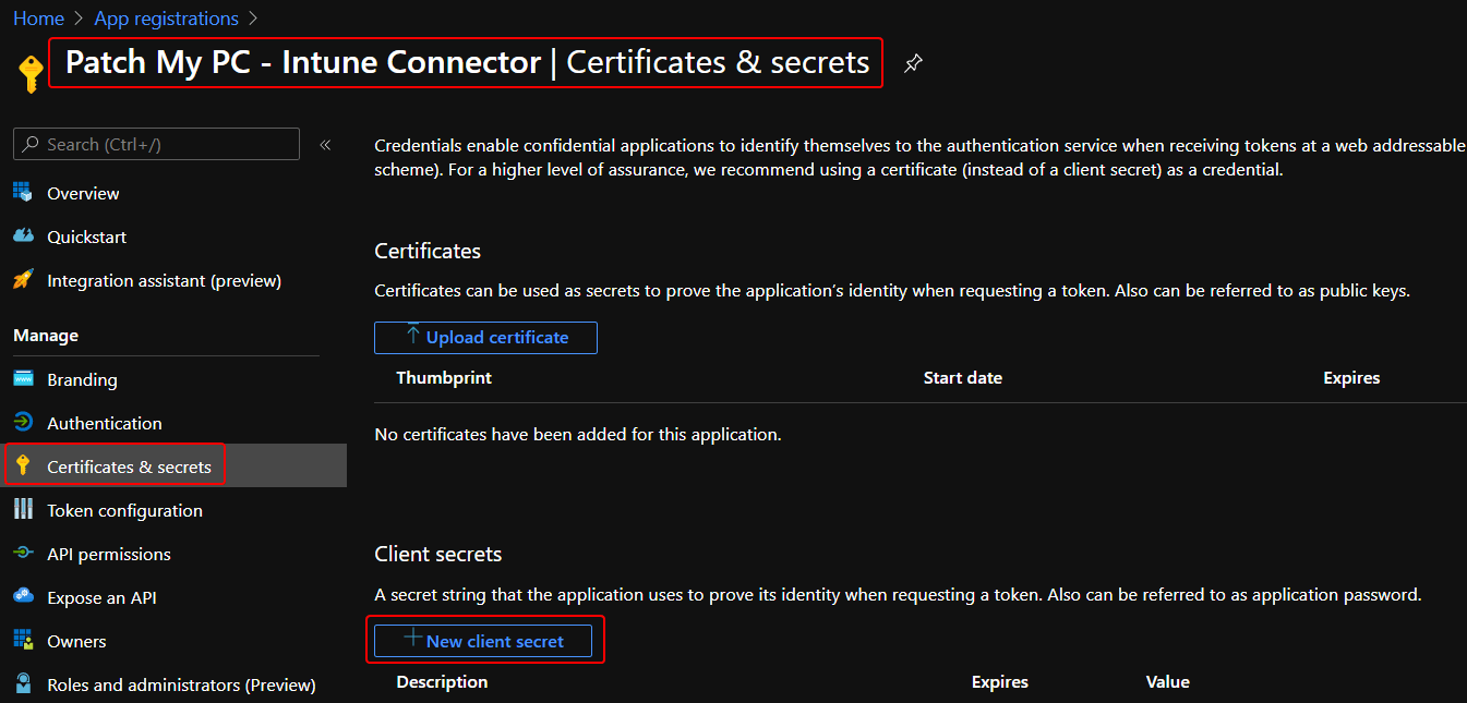 Azure App Registration Secret Key and App ID for Patch My PC