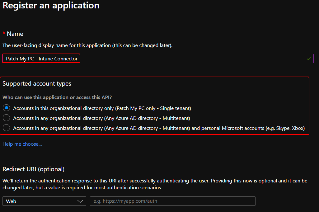 App Registration Additional Options for Microsoft Intune