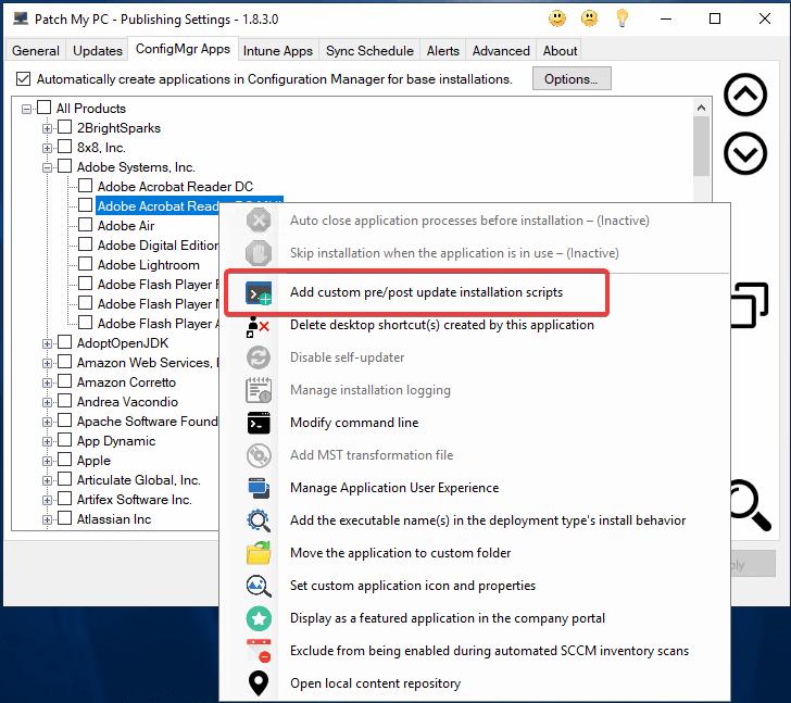 Adobe MST Right Click Pre/Post Script