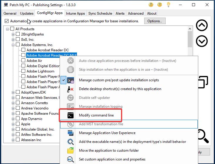 Adobe MST Right Click Modify Command Line
