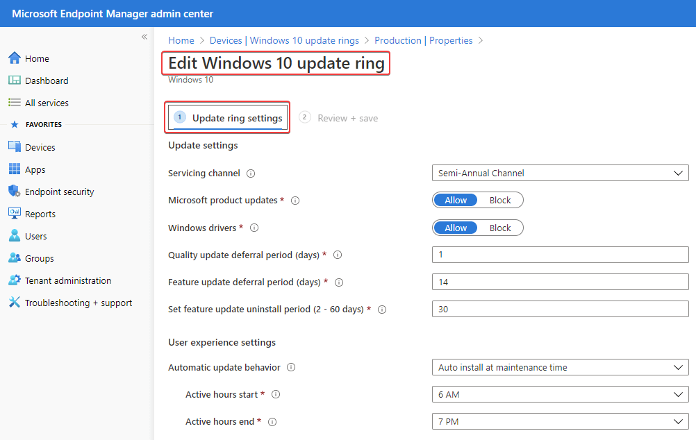 WUfB Policy Deployment in Microsoft Intune