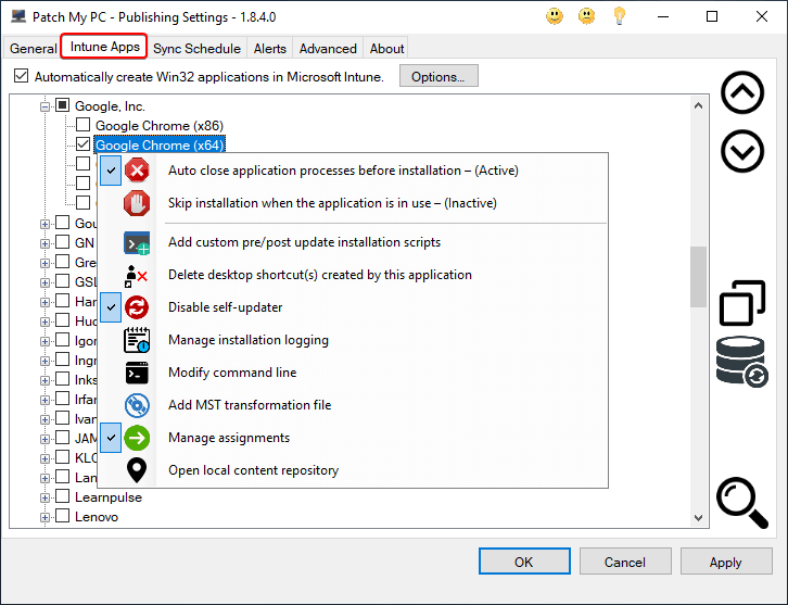 Intune Win32 Application Selection