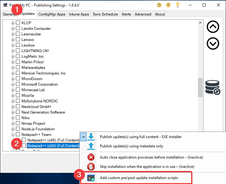 Add a Pre/Post Update Script by right-clicking the product to add the script to.