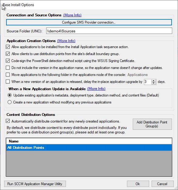 SCCM Application Options