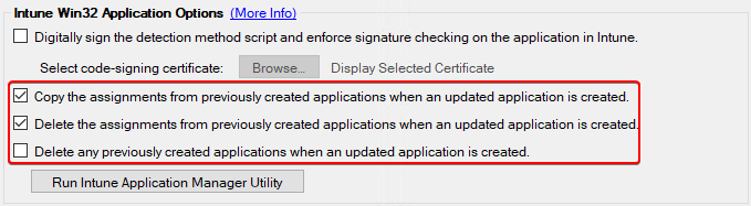 intune update options for Win32 apps