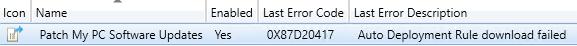 ADR Error Code 0X87D20417 for Third-Party Updates