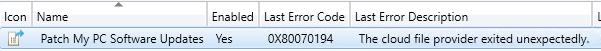 ADR Error Code 0x80070194 for Third-Party Updates
