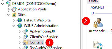Click Anonymous Authentication WSUS