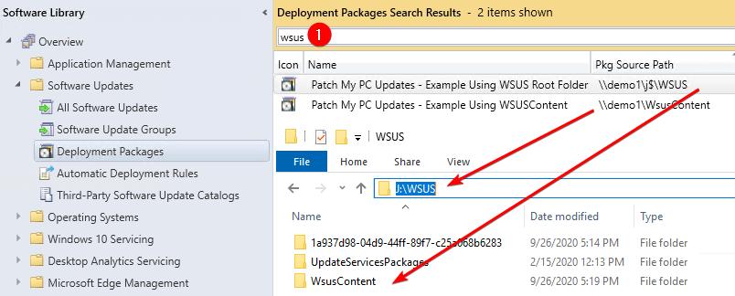 Deployment Package using wsus folders as package source folder