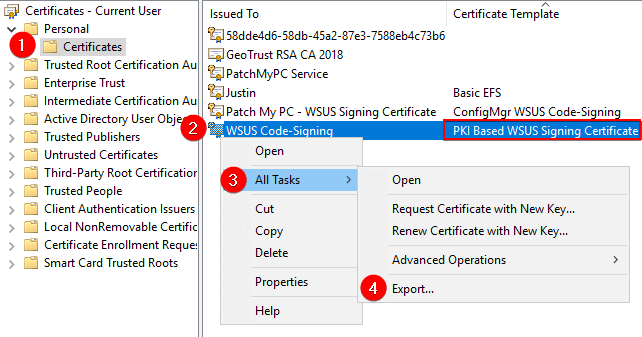 Export the WSUS Signing Certificate
