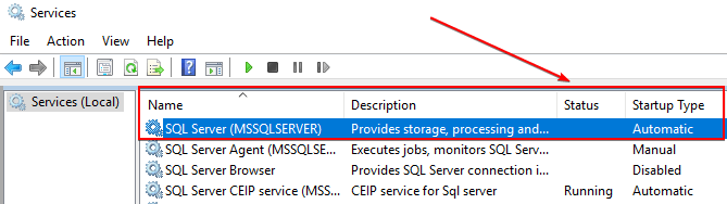 MSSQLSERVER in stopped state on WSUS Server