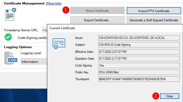 Show WSUS certificate