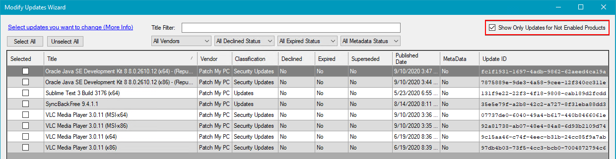 Show only updates for not enabled products