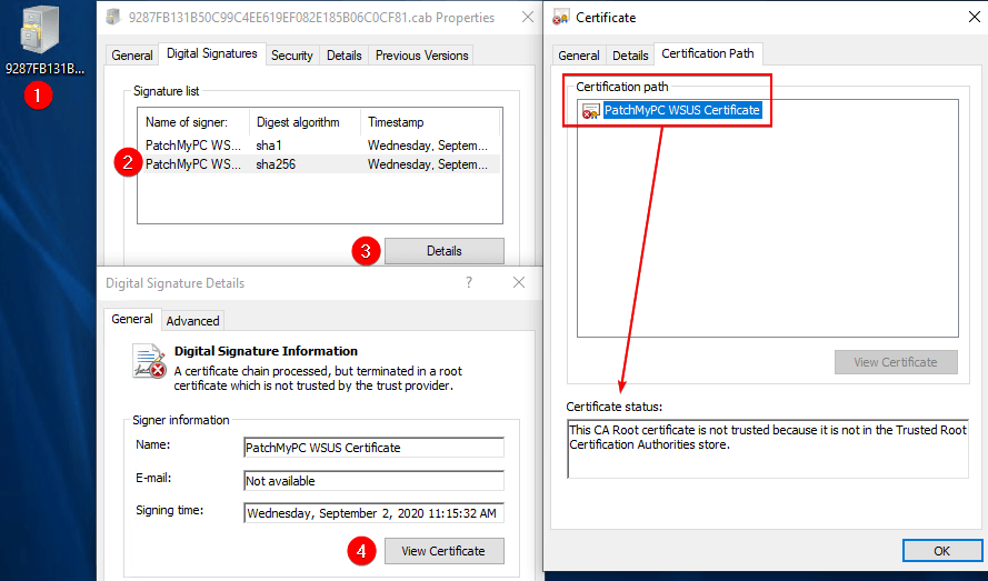This CA Root certificate is not trusted because it is not in the Trusted Root Certification Authorities store