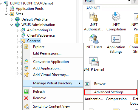 WSUS Content Virtual Directory Physical Path