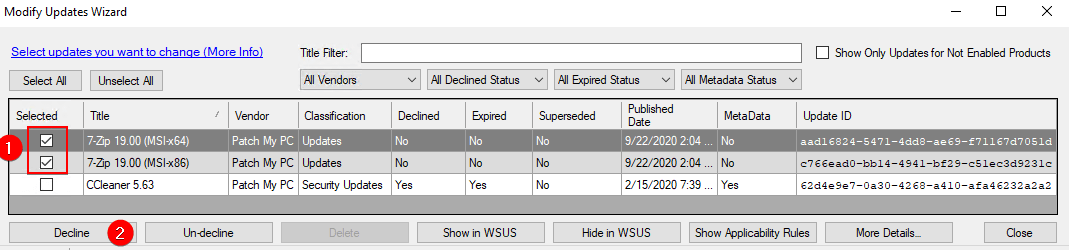 decline third-party updates from WSUS