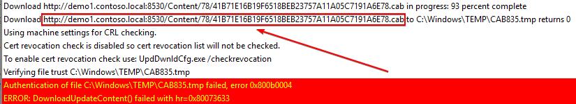 manually download update failing with error 0x800b0004 Error Invalid certificate signature