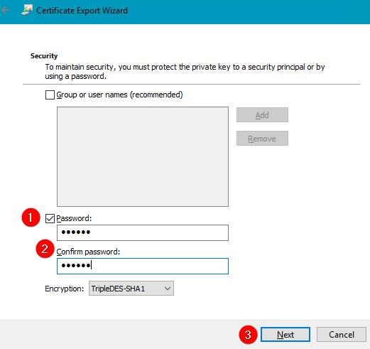 security add PFX password