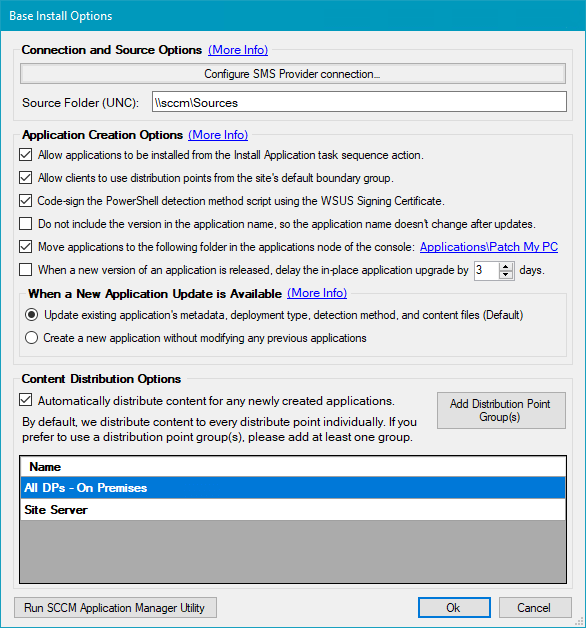 Application Creation Options for SCCM Automation