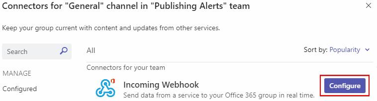 Configure Incoming Webhook