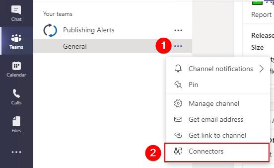 Open Teams Connectors in Channel