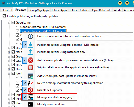 Right-Click Option to Enable Installer Logging in Patch My PC