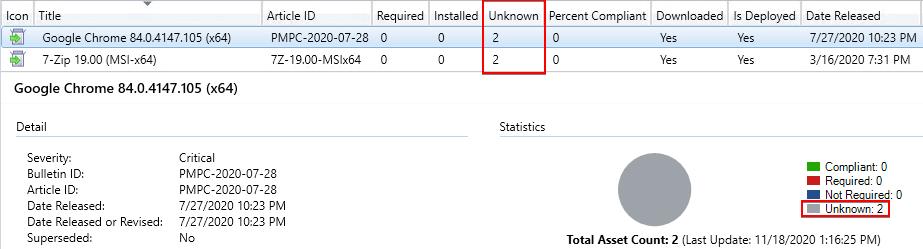 ConfigMgr Updates Showing Unknown Software Update Status
