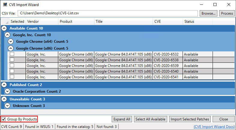 Group By Products Enabled CVE Scan