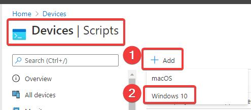 Add Script - Windows 10