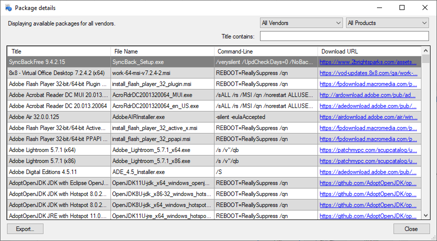 Package Details displayer
